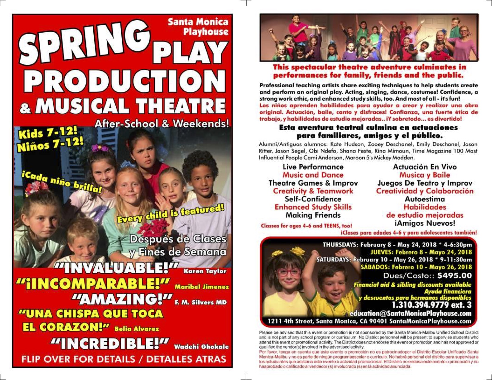 SMPlayhouse Spring Theatre Workshop bilingual for SMMUSD