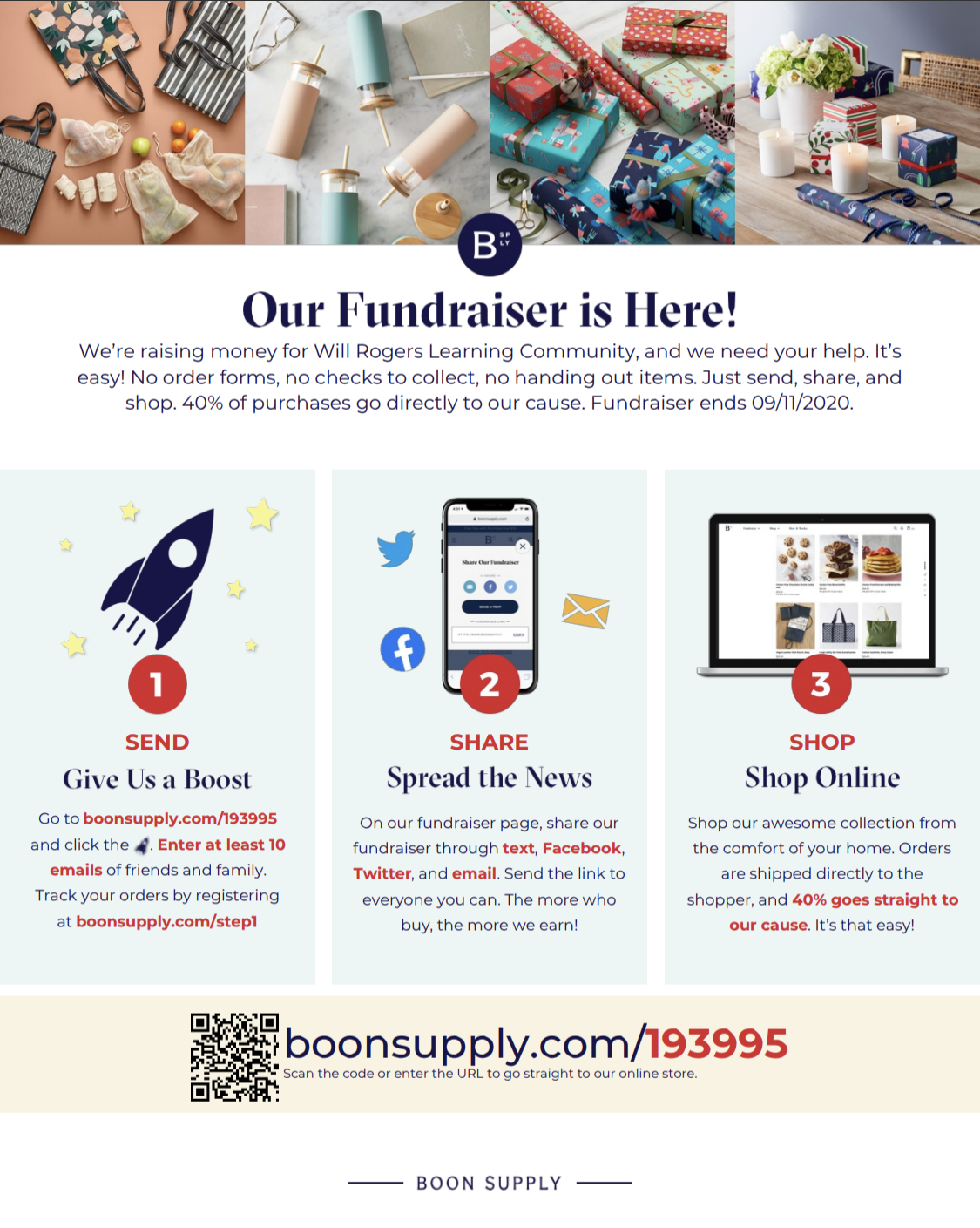 Instructions for fundraising with BoonSupply